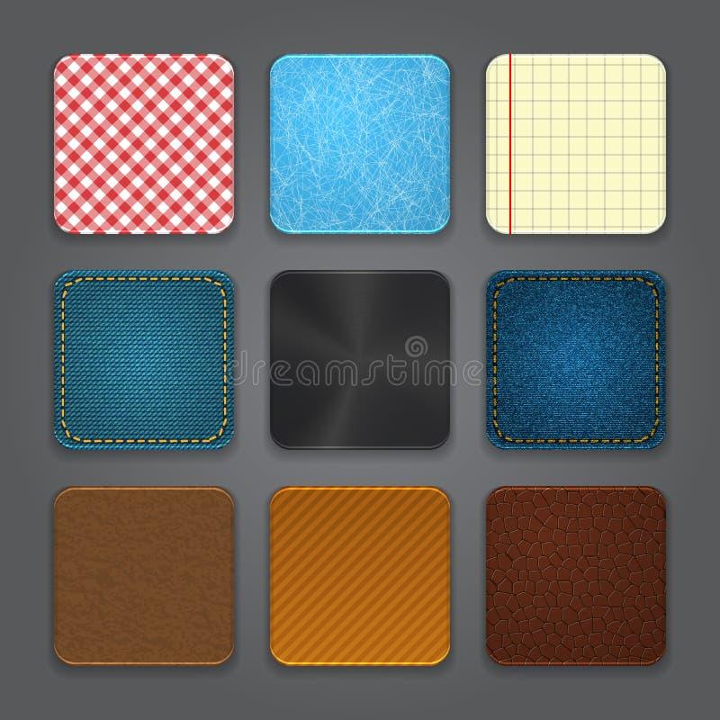 Sistema del fondo de los iconos del App. Iconos brillantes del botón del Web. libre illustration