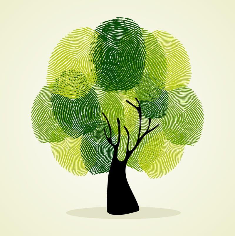 Sistema del fondo del árbol de las huellas dactilares stock de ilustración
