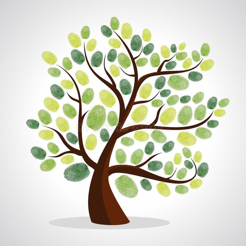 Sistema del fondo del árbol de las huellas dactilares ilustración del vector