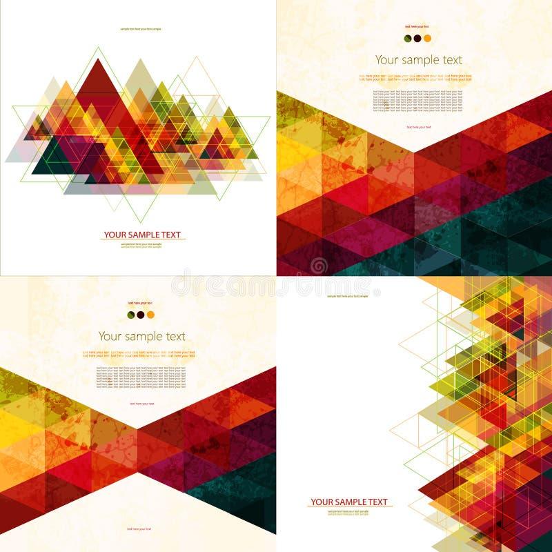 Sistema del fondo geométrico abstracto colorido cuatro con los polígonos triangulares libre illustration