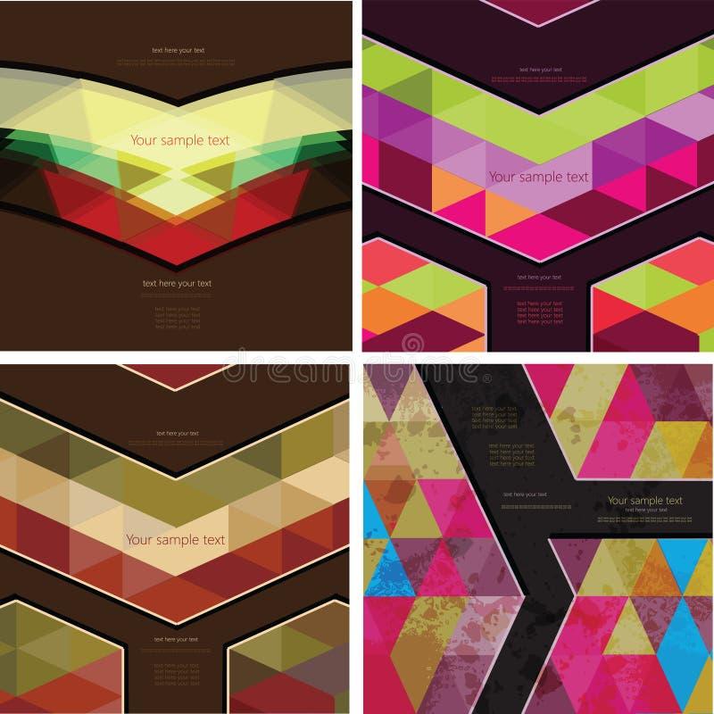 Sistema del fondo geométrico abstracto cuatro ilustración del vector