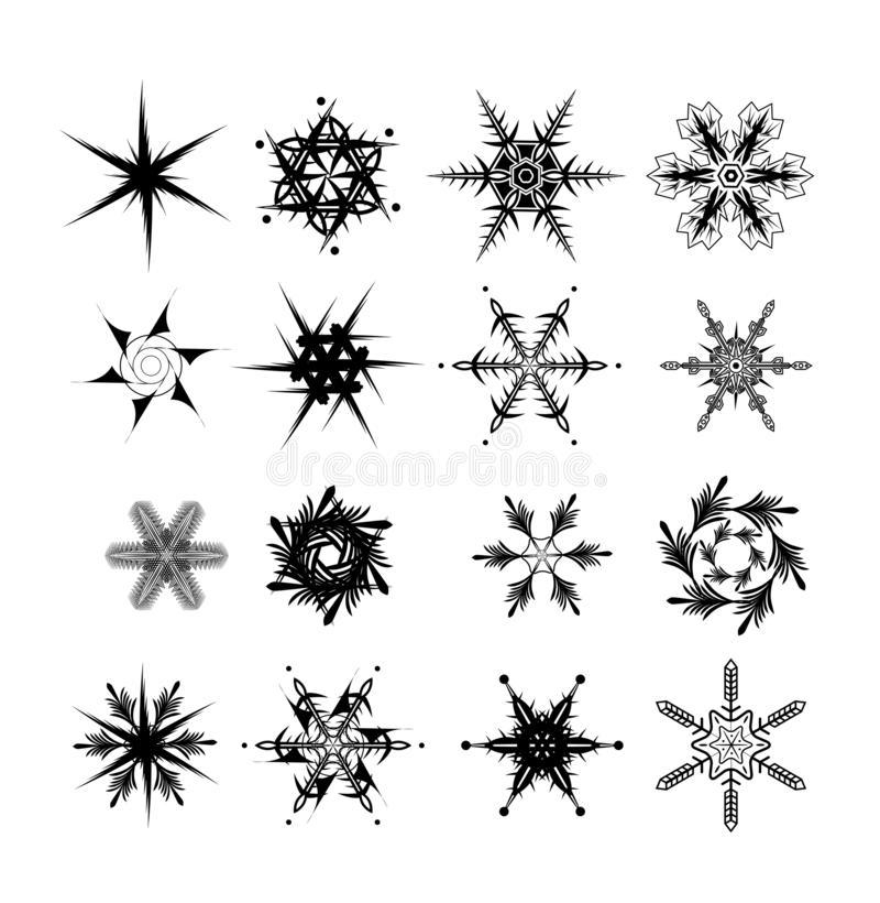 Sistema del fondo del icono del vector del copo de nieve ilustración del vector