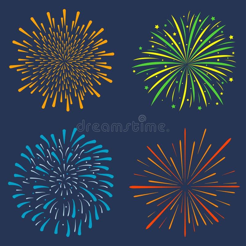 Sistema del fuego artificial Colección de estallar festivo, explosión de la celebración, saludo del aniversario aislada en fondo  stock de ilustración