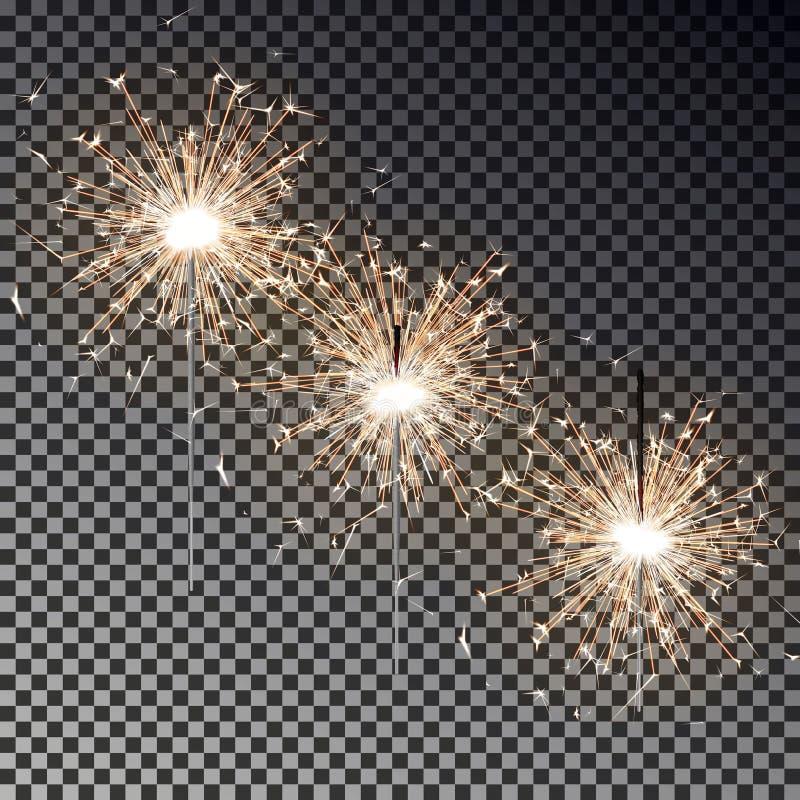 Sistema del fuego de Bengala Vela de la bengala del Año Nuevo aislada en fondo transparente Luz realista del vector stock de ilustración