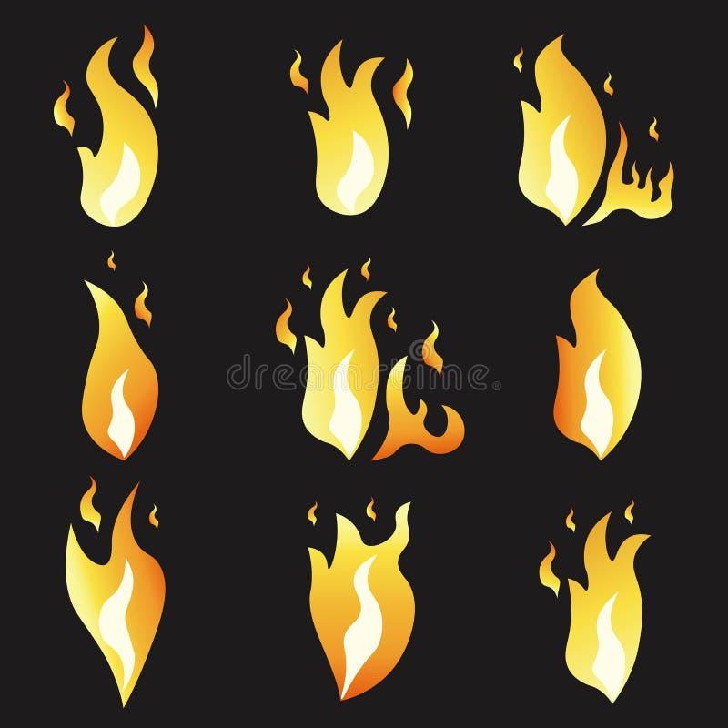 Sistema del fuego y del ejemplo de la animación diversos Estilo plano de la historieta ilustración del vector