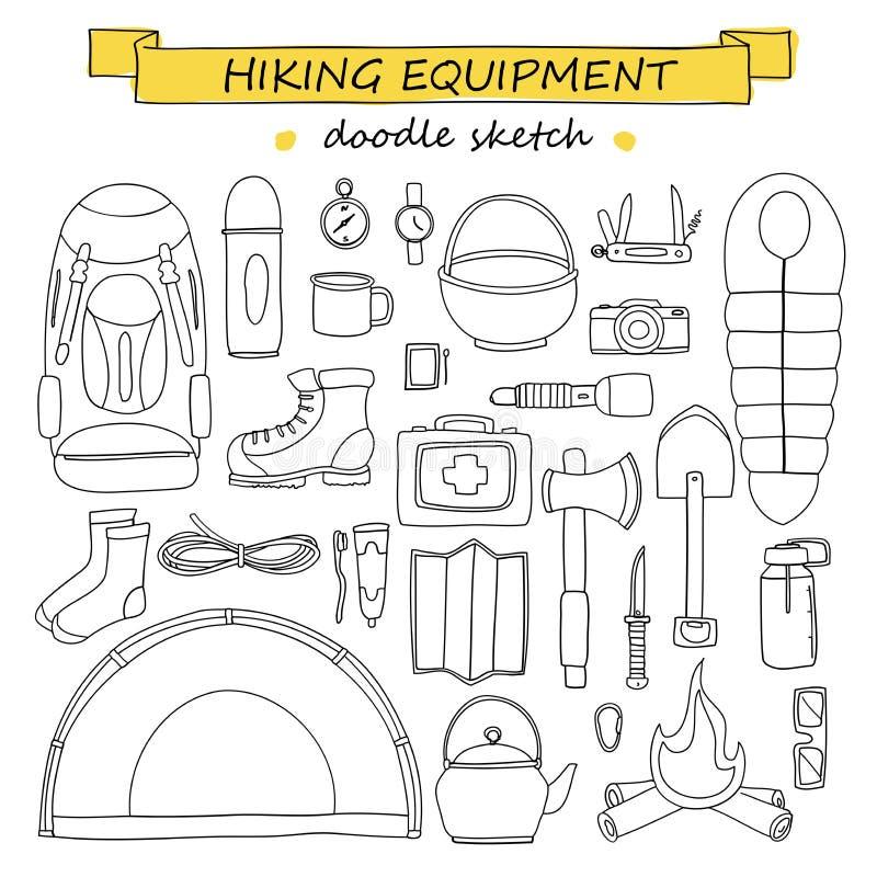 Sistema del garabato de equipo que camina y que acampa Iconos del turismo libre illustration