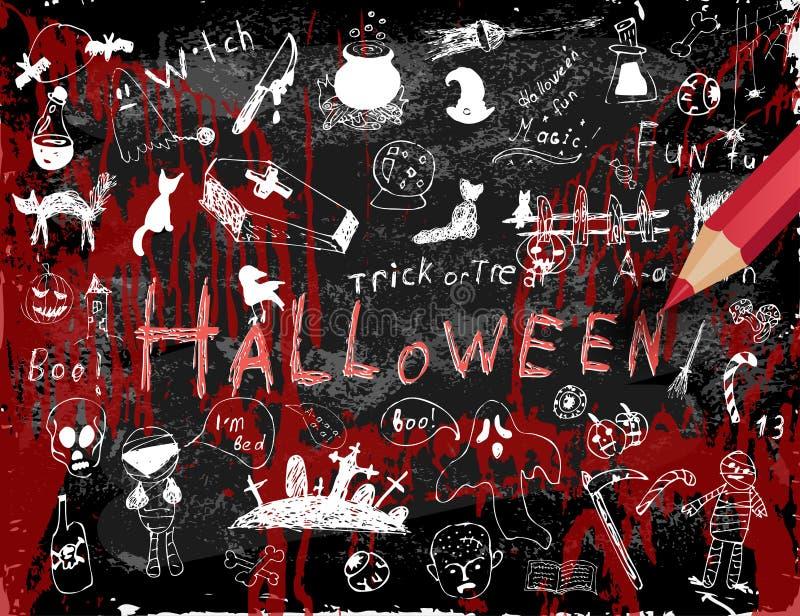 Sistema del garabato de Halloween ilustración del vector