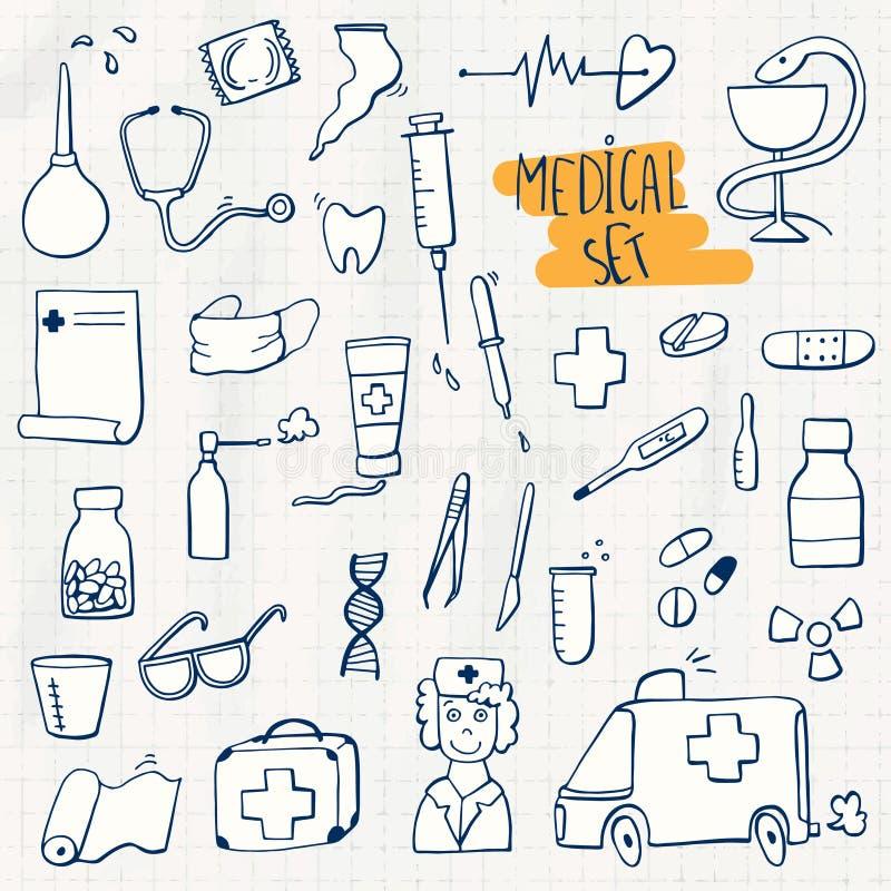 Sistema del garabato de la atención sanitaria y de la medicina stock de ilustración