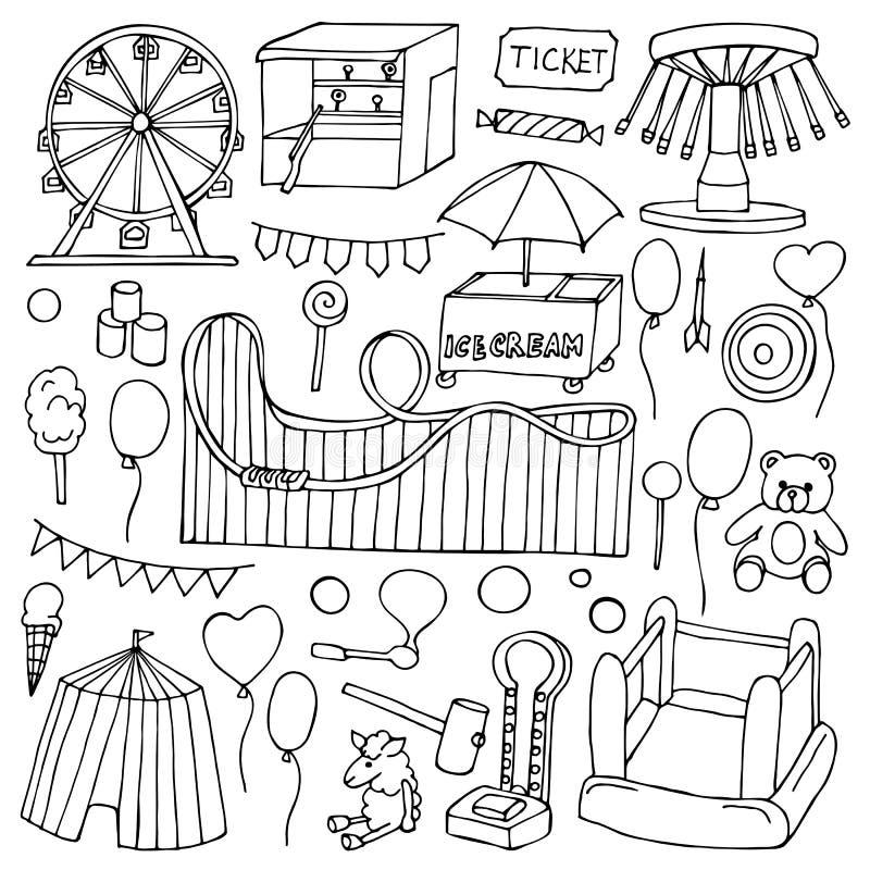 Sistema del garabato de la atracción stock de ilustración