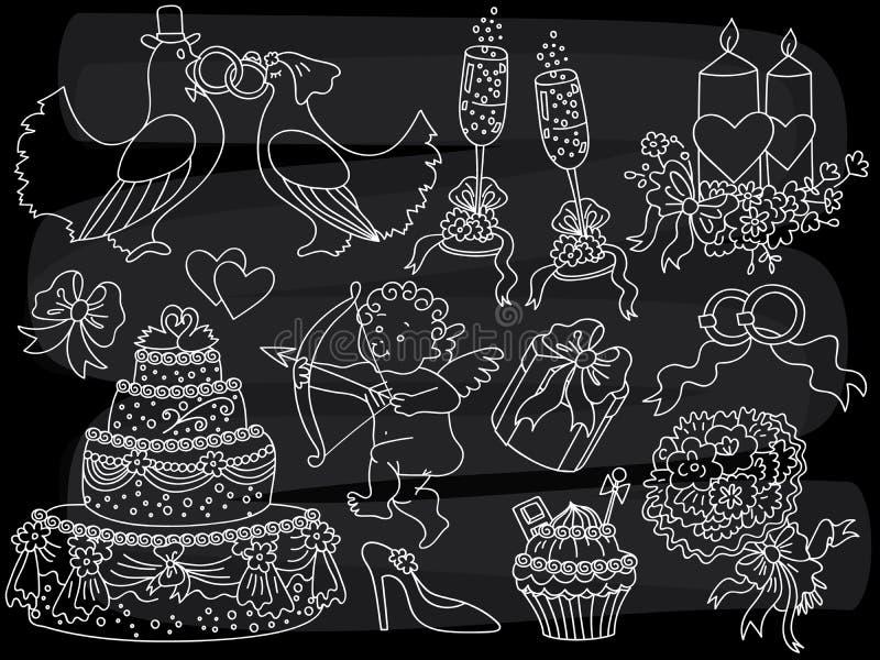 Sistema del garabato de la boda de la pizarra del vector Elementos retros del bosquejo de la tiza de la boda del vector libre illustration