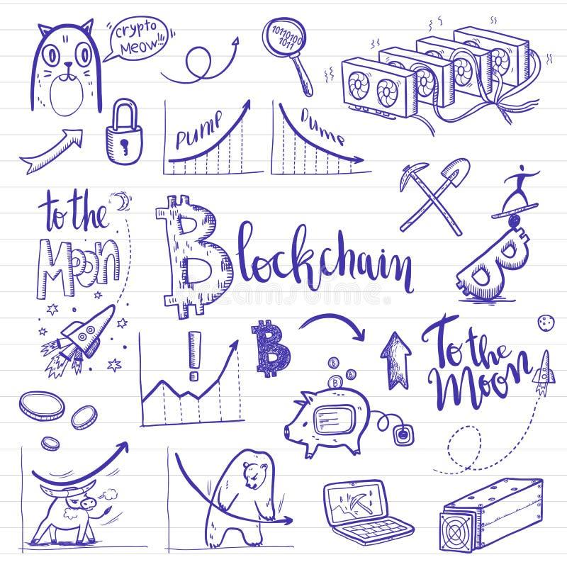 sistema del garabato de la Crypto-moneda Ilustración del vector stock de ilustración