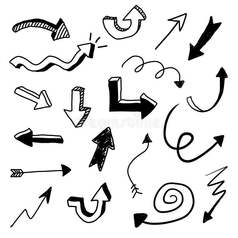 Sistema del garabato de la flecha del vector ilustración del vector