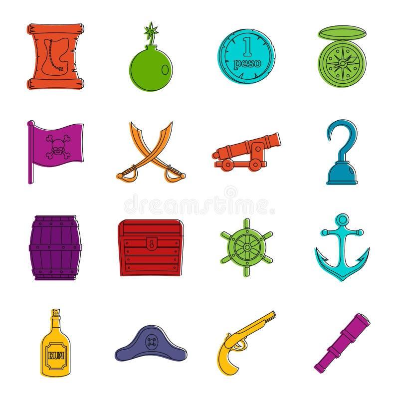 Sistema del garabato de los iconos del pirata ilustración del vector