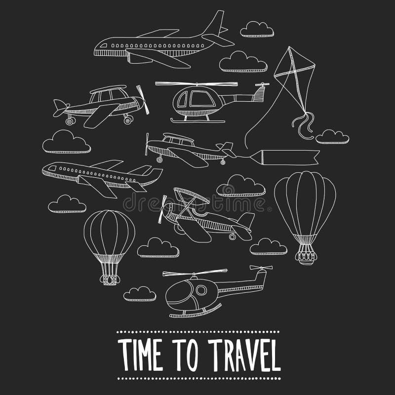 Sistema del garabato de tiempo de las imágenes para viajar libre illustration