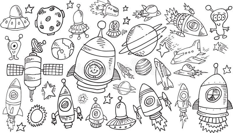 Sistema del garabato del bosquejo del espacio exterior stock de ilustración