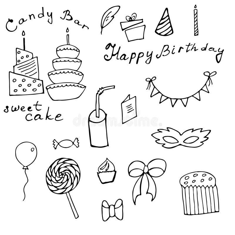Sistema del garabato del feliz cumpleaños stock de ilustración