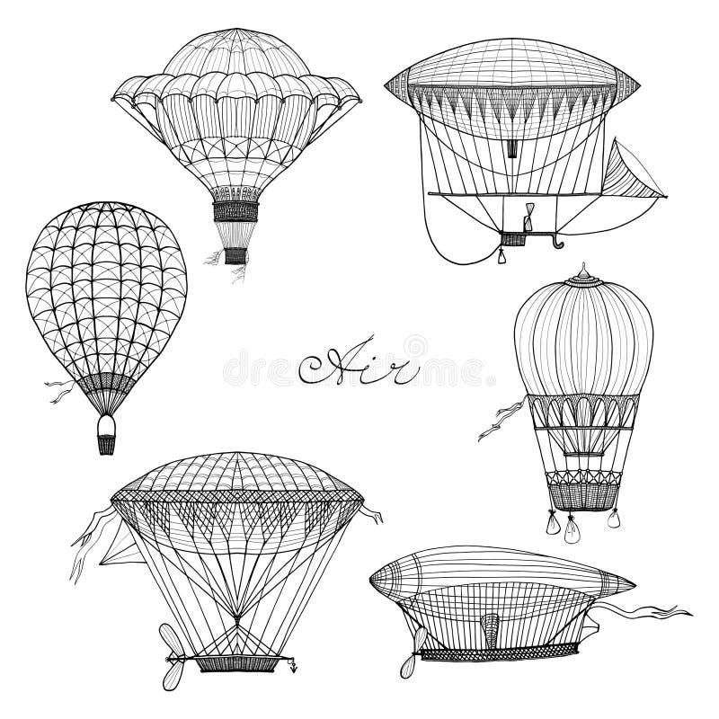 Sistema del garabato del globo y del dirigible stock de ilustración