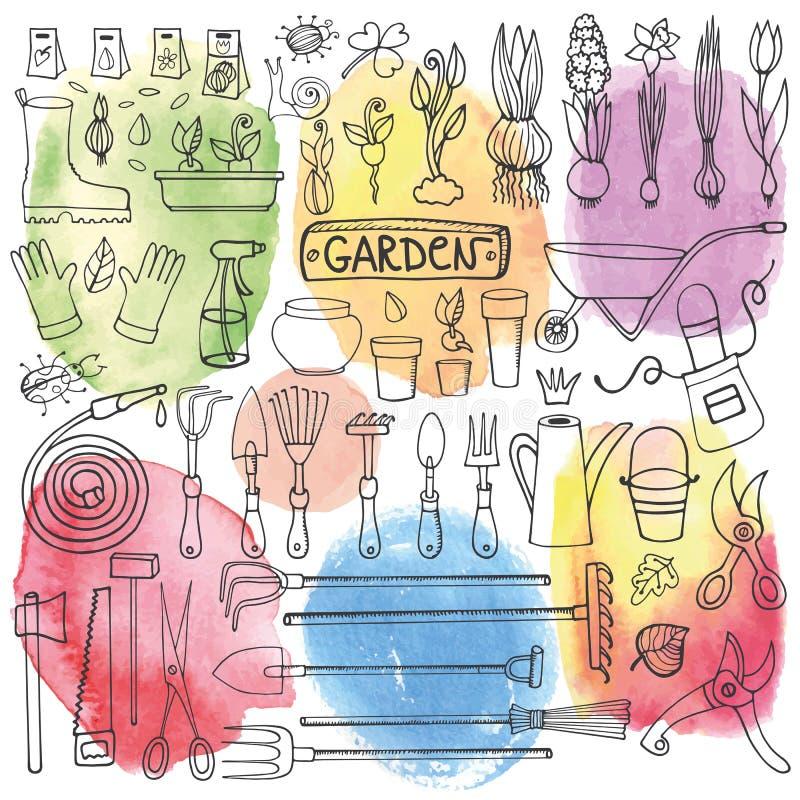 Sistema del garabato del jardín de la primavera Herramientas, plantas watercolor stock de ilustración