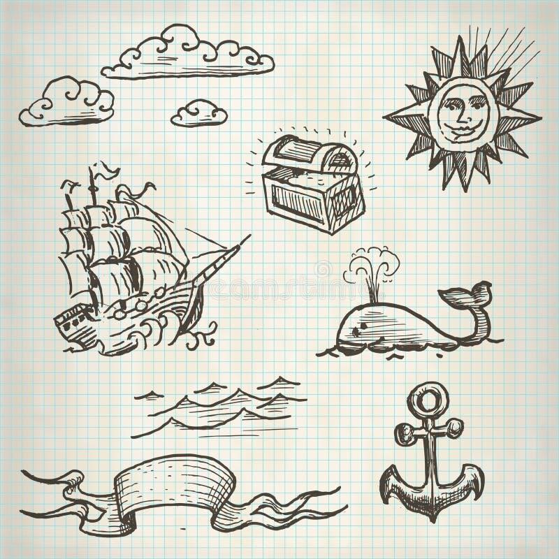 Sistema del garabato del mar stock de ilustración