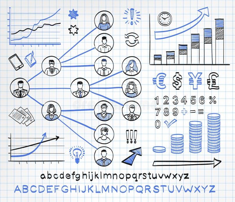 Sistema del garabato del negocio ilustración del vector