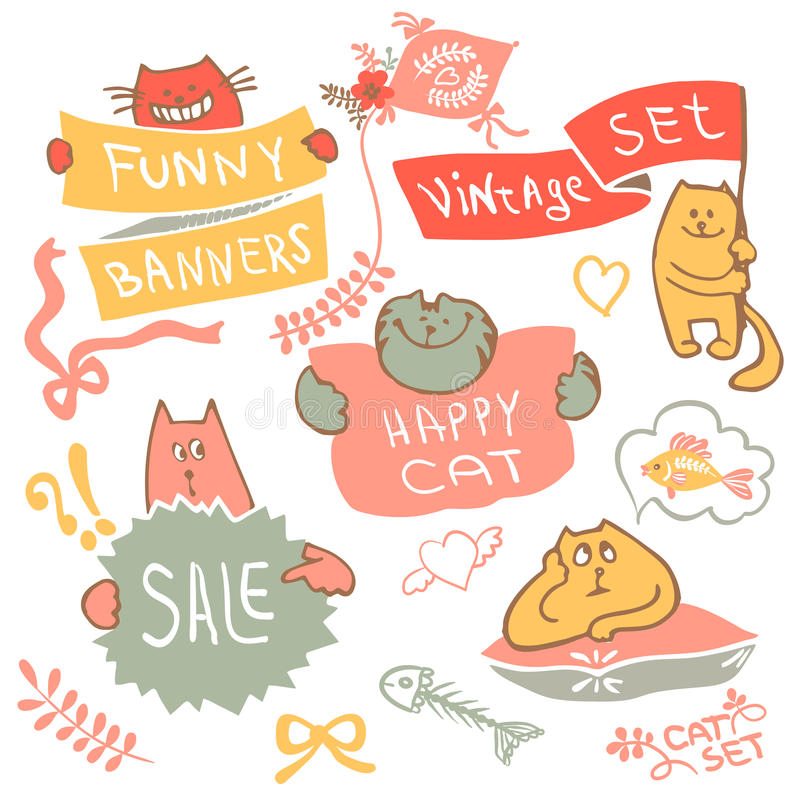 Sistema del gato del dibujo de la mano con vector del logotipo de la bandera libre illustration