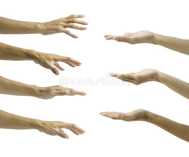 Sistema del gesto de mano aislado en el fondo blanco imagen de archivo