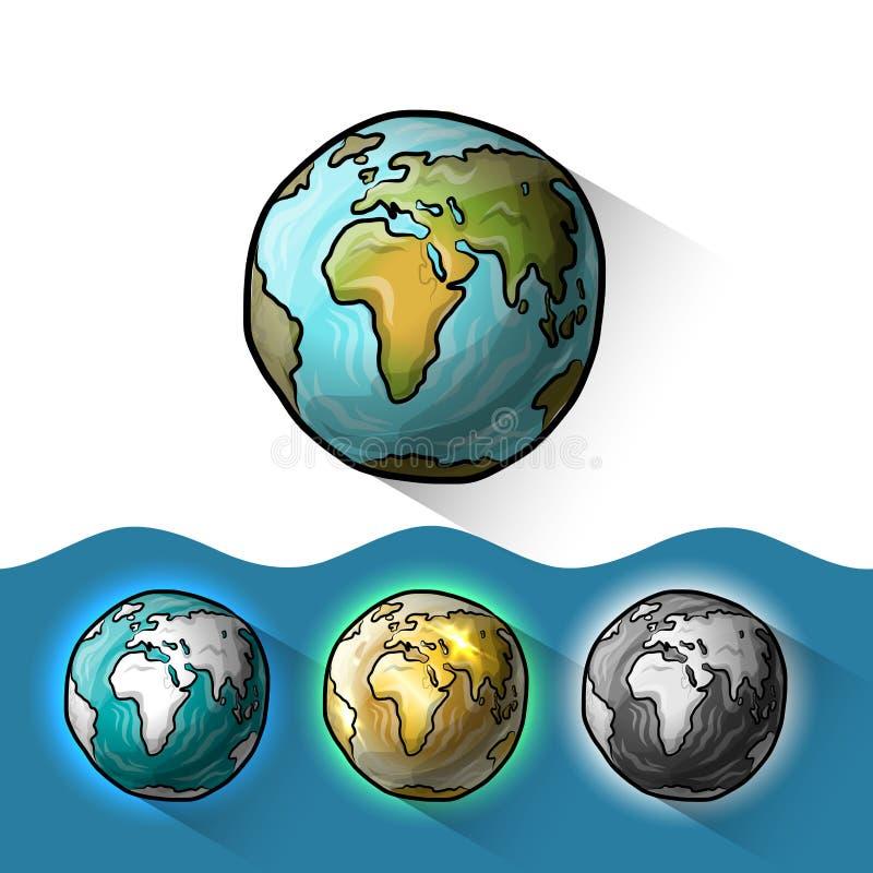 Sistema del globo del garabato stock de ilustración
