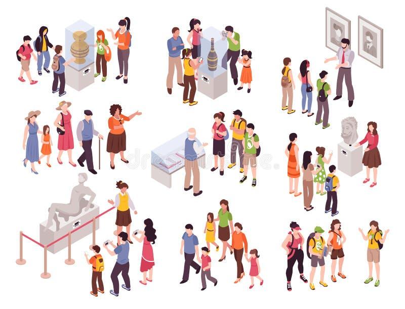 Sistema del grupo de la excursión del museo libre illustration