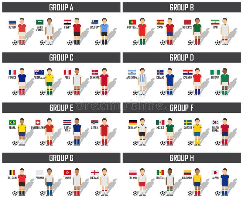 Sistema del grupo del equipo de la taza 2018 del fútbol Futbolistas con las banderas uniformes y nacionales del jersey Vector par ilustración del vector