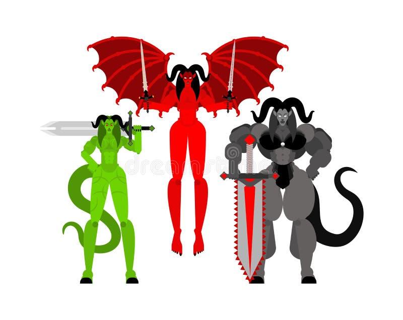 Sistema del guerrero de la mujer del demonio Súcubo tres frenético Diablo femenino fuerte señora satan Guerreros del infierno Ilu libre illustration