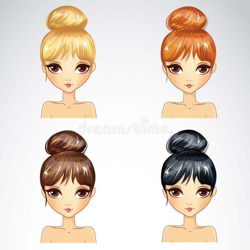 Sistema del Hairstyling del manojo stock de ilustración