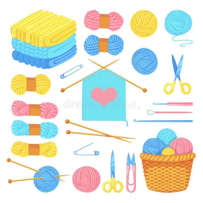 Sistema del hilado de las herramientas que hace punto y de lanas, aislado en el fondo blanco Arte del vector y elementos hechos a stock de ilustración