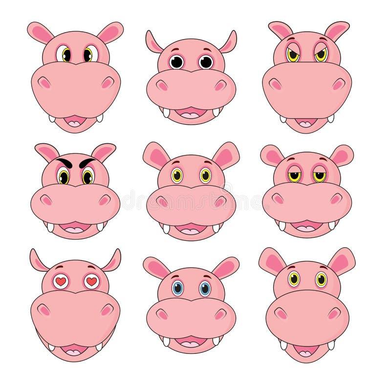 Sistema del hipopótamo de cabezas con diversas emociones aisladas en el fondo blanco en vector ilustración del vector
