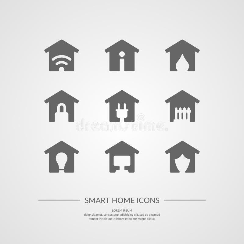 Sistema del hogar elegante de los iconos ilustración del vector