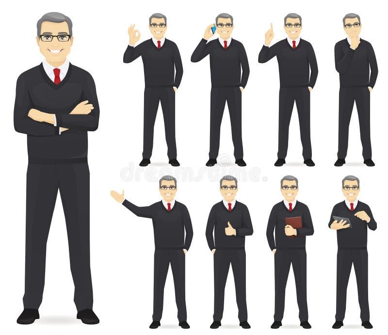 Sistema del hombre de negocios ilustración del vector