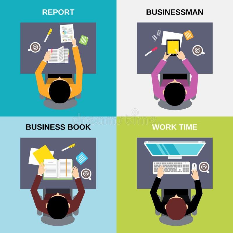 Sistema del hombre de negocios de la visión superior ilustración del vector