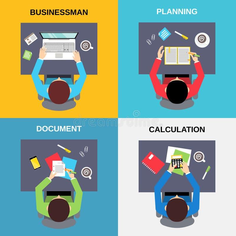 Sistema del hombre de negocios de la visión superior stock de ilustración