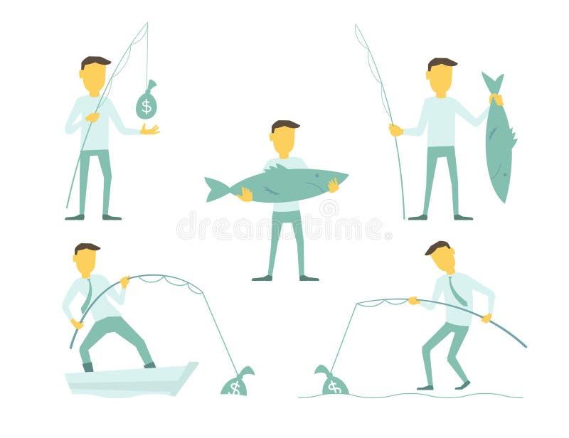 Sistema del hombre de negocios de las imágenes en un viaje de pesca Ejemplo de un vector Pescados grandes a disposición Dinero de libre illustration