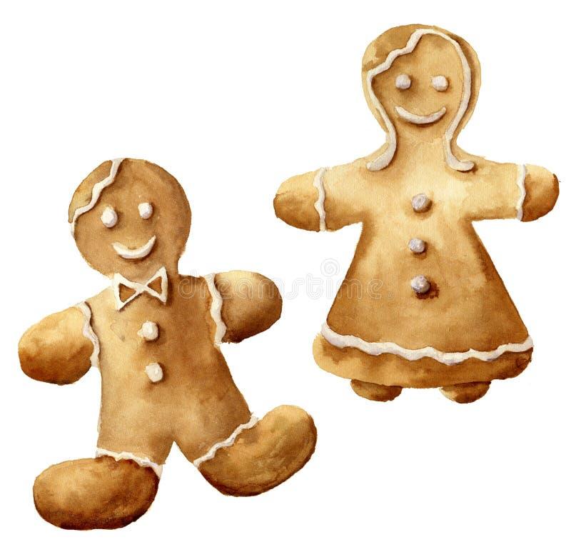 Sistema del hombre de pan de jengibre de la Navidad de la acuarela Hombre de pan de jengibre pintado a mano y mujeres aislados en ilustración del vector