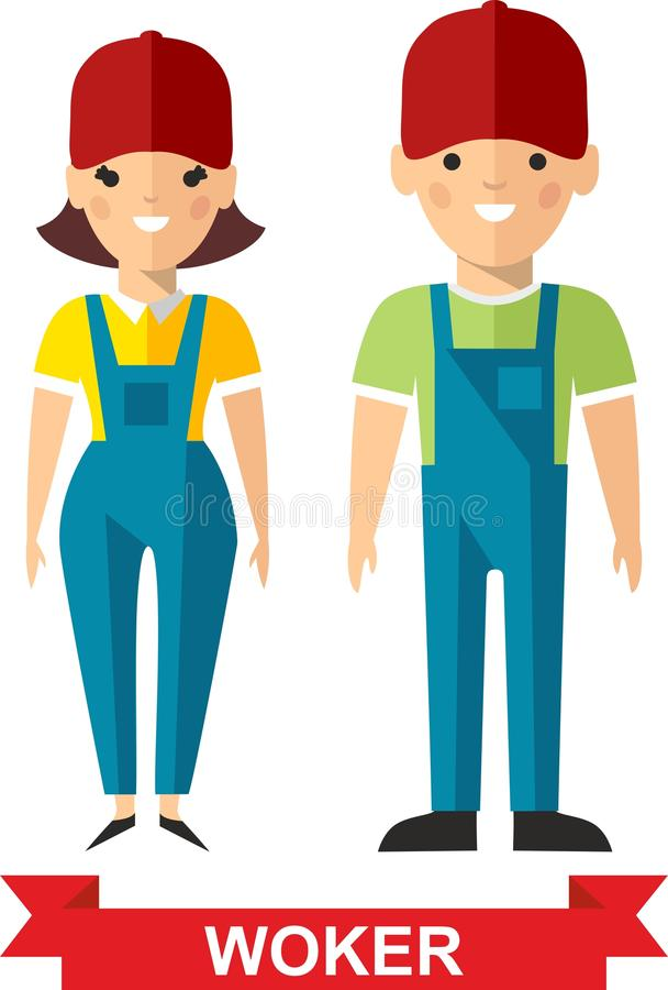 Sistema del hombre del trabajador del vector y de la mujer del trabajador ilustración del vector