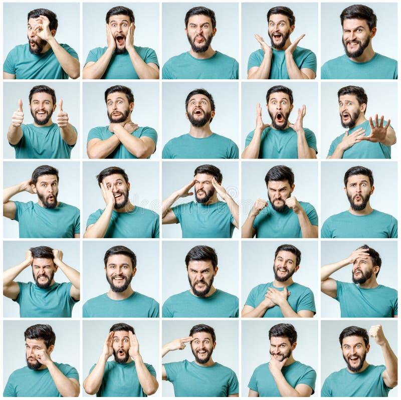 Sistema del hombre emocional hermoso imagen de archivo