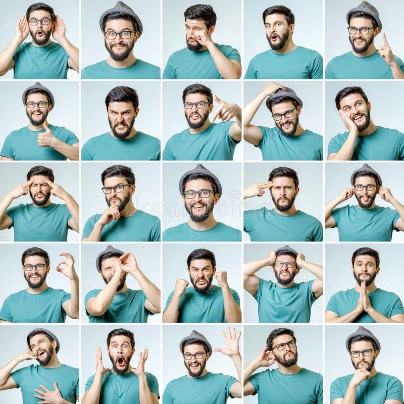 Sistema del hombre emocional hermoso imagen de archivo libre de regalías