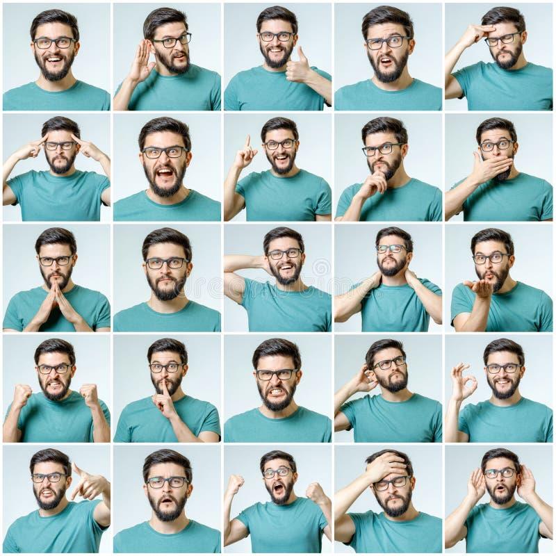Sistema del hombre emocional hermoso imágenes de archivo libres de regalías