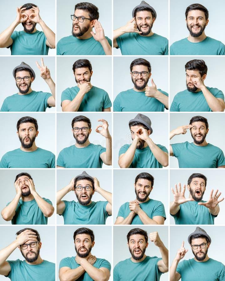 Sistema del hombre emocional hermoso imagenes de archivo