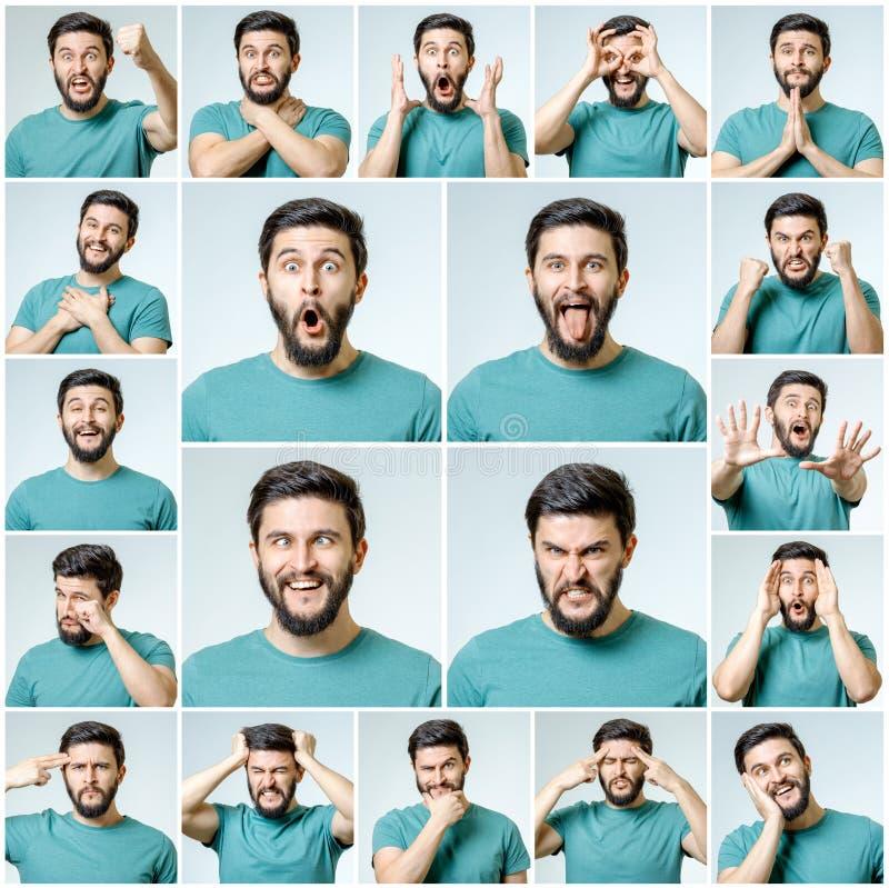 Sistema del hombre emocional hermoso foto de archivo