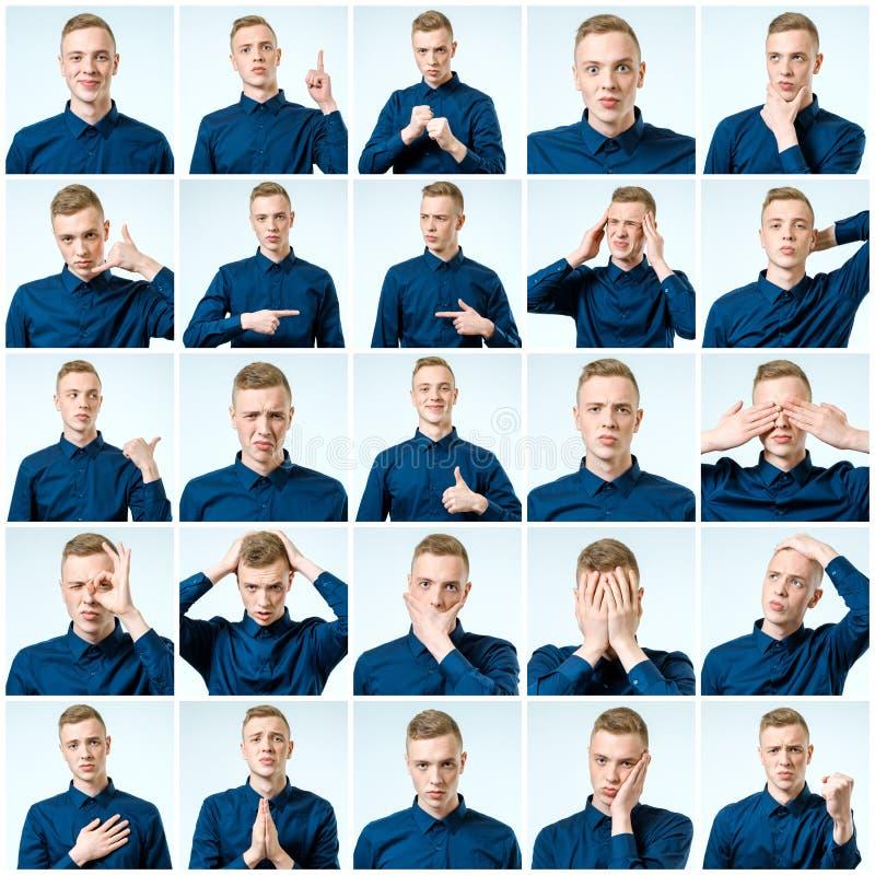 Sistema del hombre emocional hermoso aislado foto de archivo