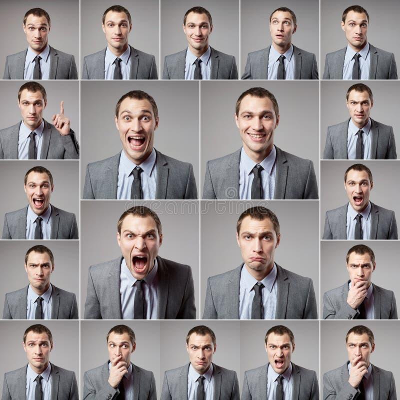 Sistema del hombre emocional hermoso sobre fondo oscuro imagenes de archivo