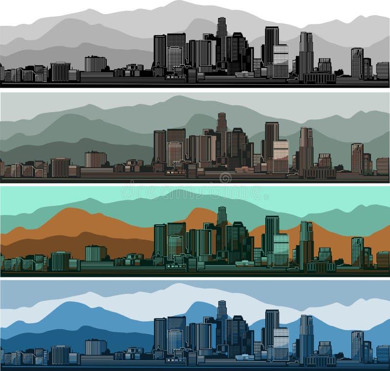 Sistema del horizonte de Los Ángeles Versión coloreada del Mountain View ilustración del vector