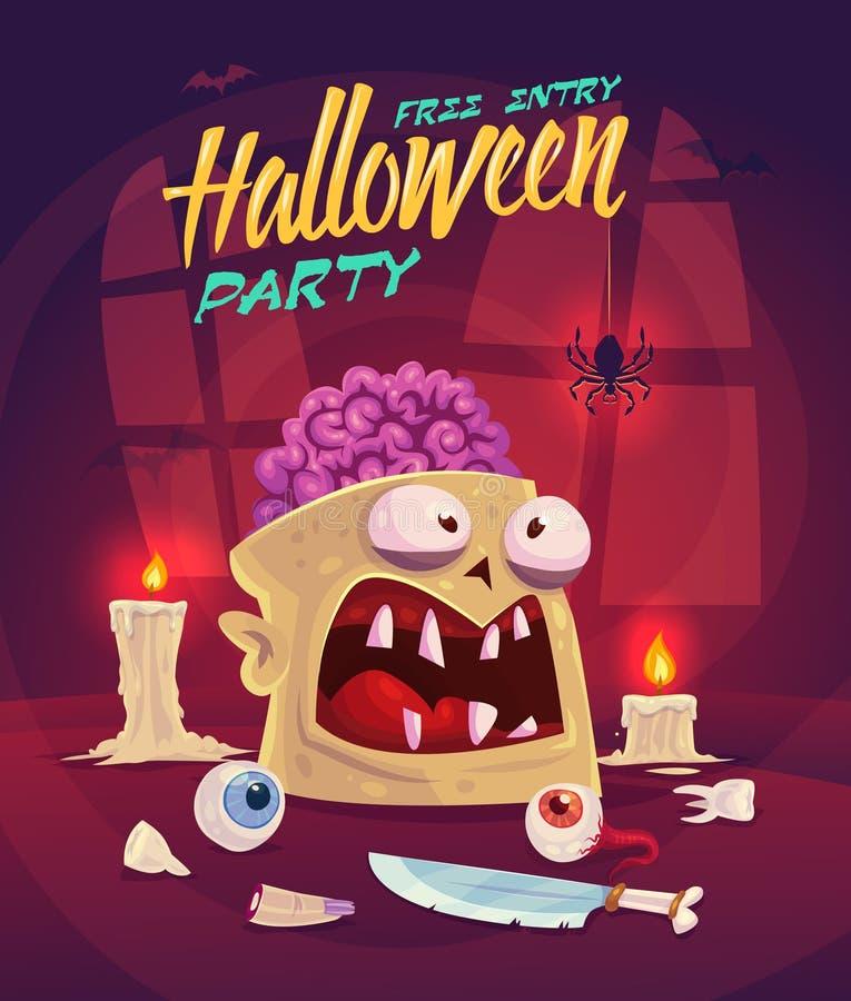 Sistema del horror Tarjeta del fondo del cartel de Halloween ilustración del vector