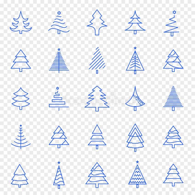 Sistema del icono del árbol de navidad 25 iconos del vector embalan stock de ilustración